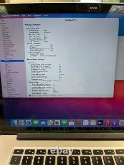 Apple MacBook Pro Retina 15 (2013) 2.0GHz i7 8GB 512GB Screen Wear / Battery