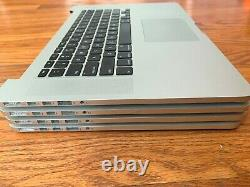Lot of 4 a1398 Macbook Pro retina 15 late 2013-2014 No screen 80-300 cycle READ
