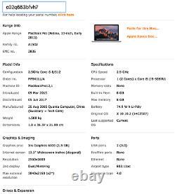 MacBook Pro 13 Retina 2015 MF839LL/A 2.9GHz i5 8GB NO SSD Cracked Screen LCD #OT
